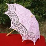 Battenberg lace parasols. We stock many colors and styles Contact us and we will check our inventory for your preferred style and color.