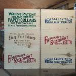 A sample of some of our crates with commercially available products from the 1860's stenciled on them.